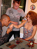 Ebony fellow is having copulation with stunning curly beauty