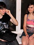Fellow kisses his girlfriend while she fucks with stranger